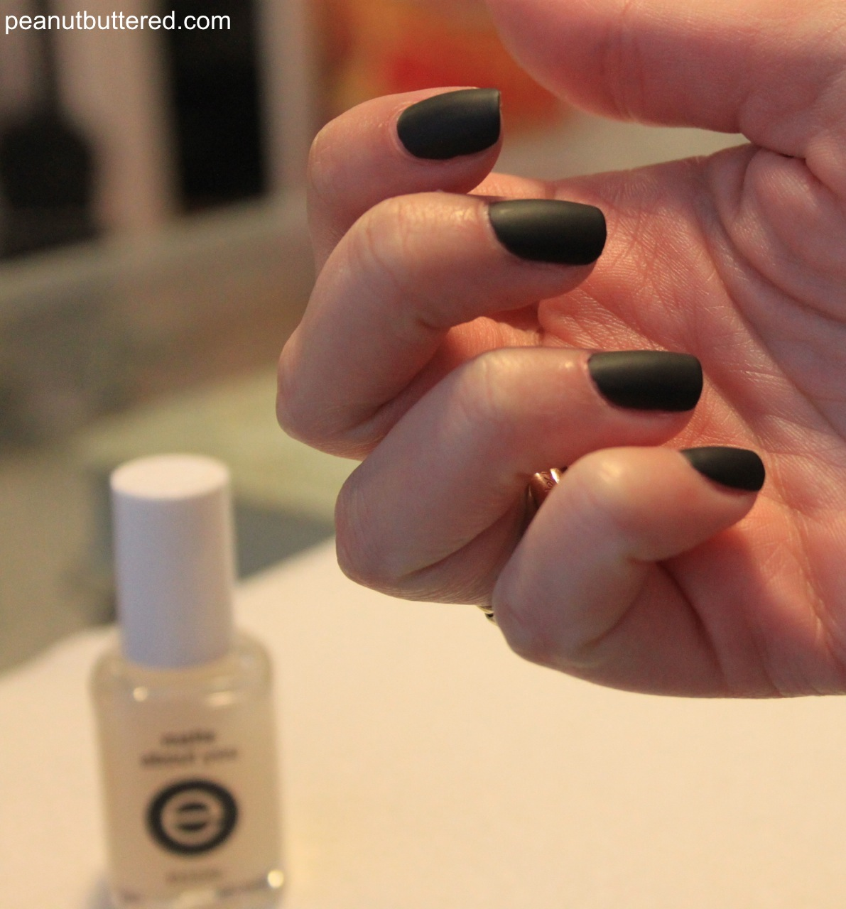 matte french nails, peanut buttered, halloween manicure ideas