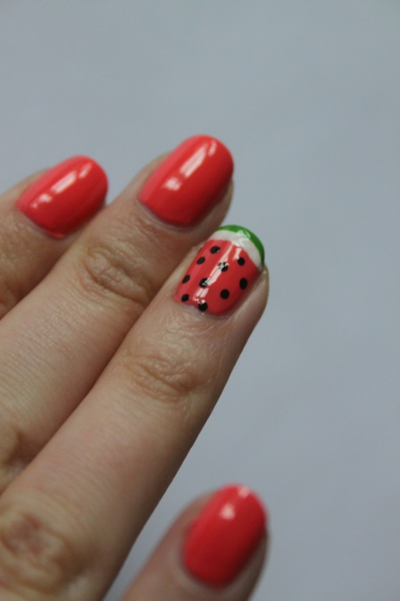 watermelon nail art manicure